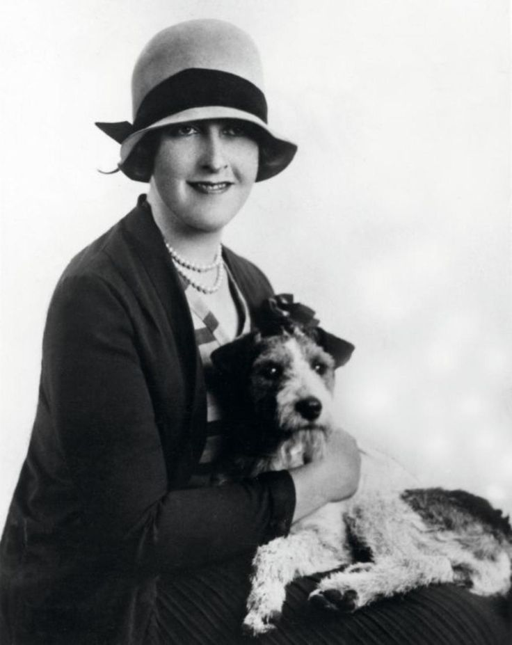 Agatha Christie and a pooch, 1930