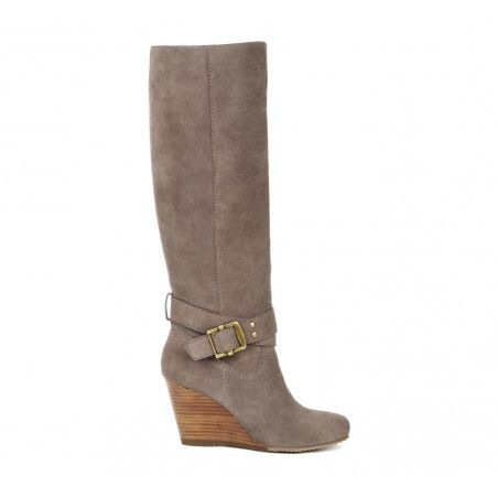 truly love these tall stack heel wedge buckle boots in gray