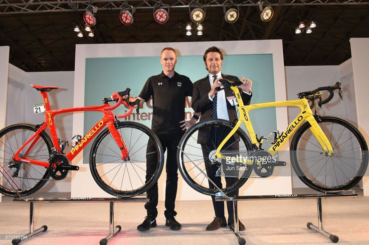 #CYCLEMODE Four-time Tour de France winner Chris Froome and Pinarello President Fausto Pinarello attends a talk event during Cycle Mode International at Makuhari Messe on November 5, 2017 in Chiba, Japan.