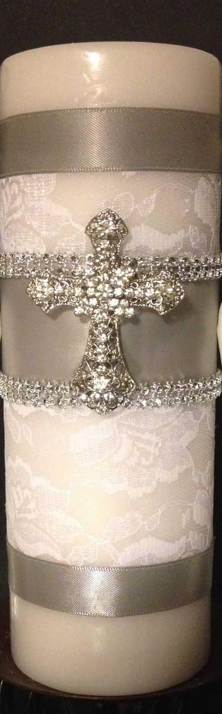 Bautismo o bautizo vela. Cubierto con encaje blanco. por BridesKiss