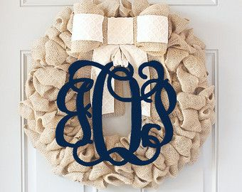 Spring Wreath for Front Door Monogram by GenevieveDesignsBR