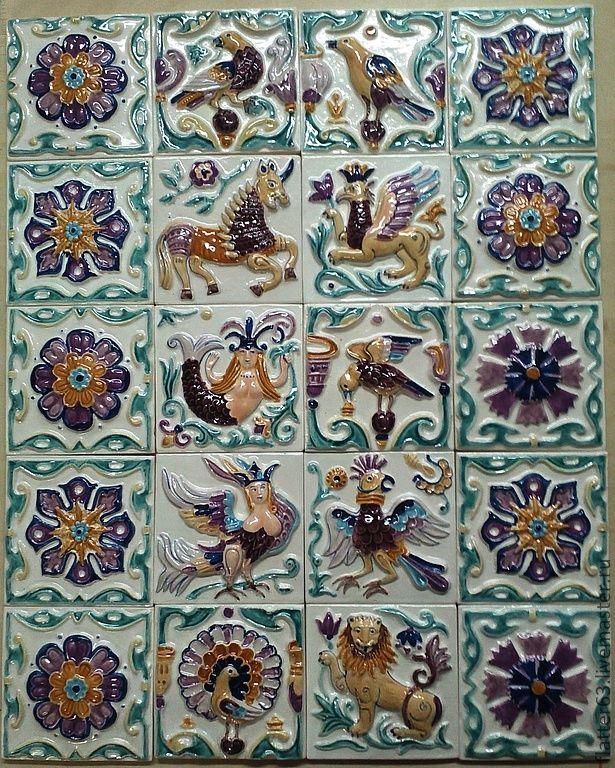 hand-made glazed tiles