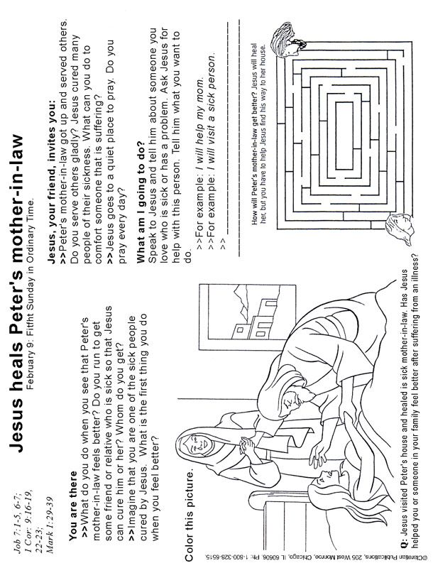 Image Result For Coloring Sheets For Jesus Heals Peter S Mother In