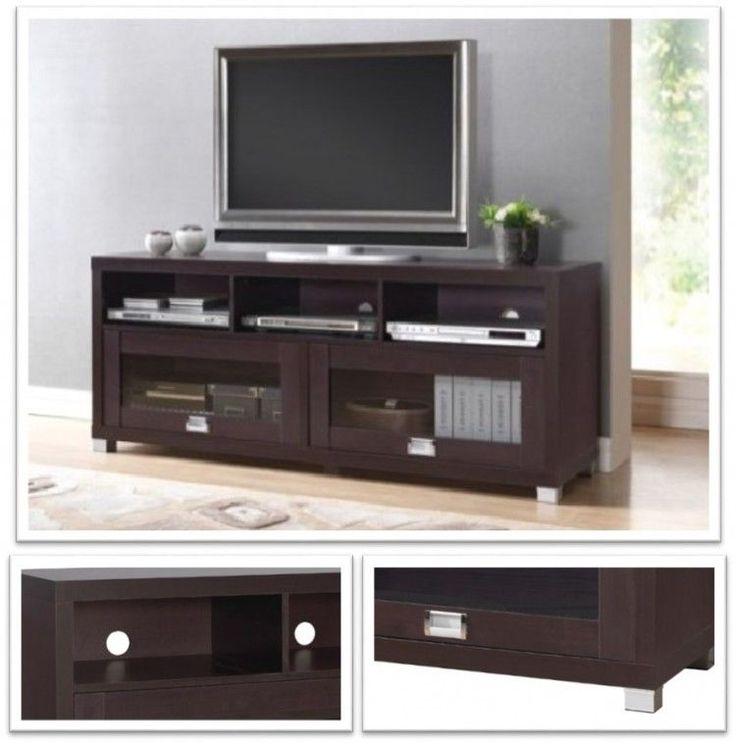 Modern Espresso Tv Stand Wood Glass DVD Media Shelf Storage Entertainment Center #TechniMobili #Modern