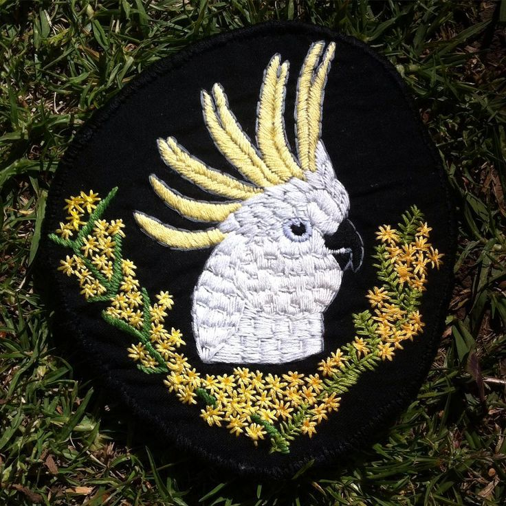 hand embroidered cockatoo patch