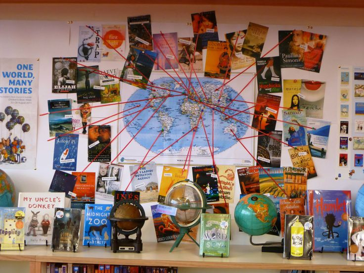 Library Displays: One World, Many Stories: Libraries Ideas, Books Display, Schools Libraries, Bulletin Boards, Libraries Display, Library Displays, Display Ideas, Around The World, Boards Ideas