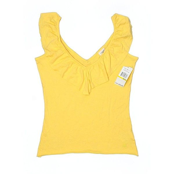Tommy Jeans Sleeveless Top ($11) ❤ liked on Polyvore featuring tops, yellow, tommy hilfiger top, sleeveless tank, tommy hilfiger tank top, sleeveless tank tops and cotton tank tops