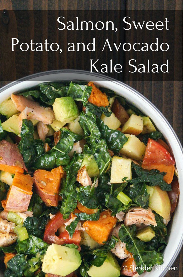 Salmon, Sweet Potato, and Avocado Kale Salad - Slender Kitchen
