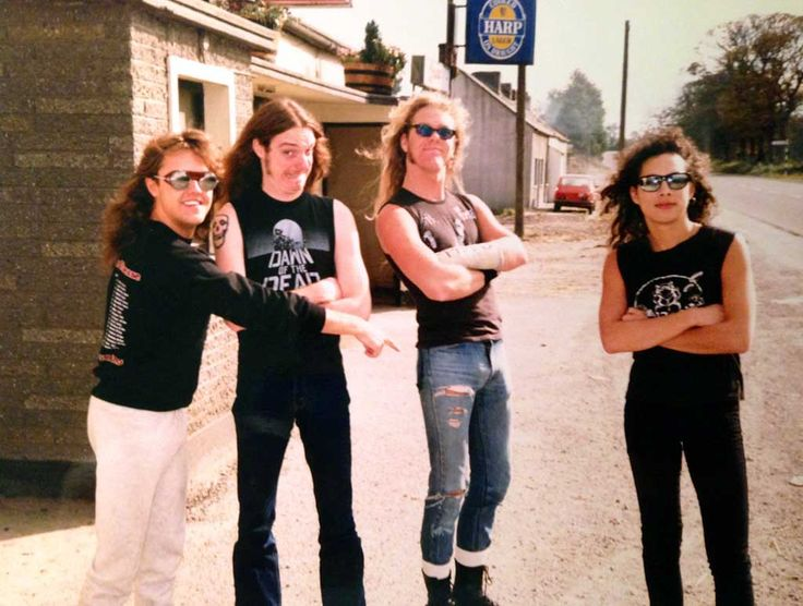 Lars Ulrich Cliff Burton James Hetfield and Kirk Hammett from Metallica in Ireland 1986 | Rare and beautiful celebrity photos