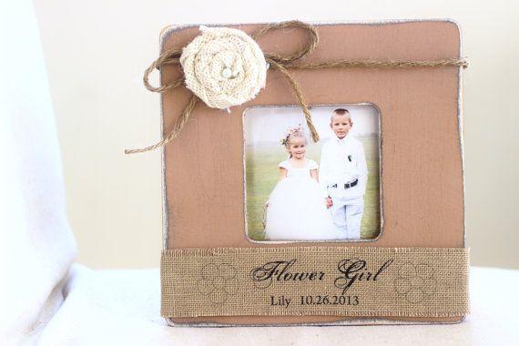 Flower Girl Gift Sign Personalized Picture Frame Rustic Burlap Shabby Beach Wedding Gift for Flower Girl