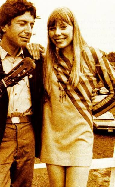 Joni and Leonard Cohen, both Canadians, met at the Newport Folk Festival in 1967.