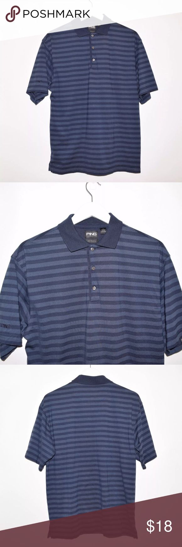 PING Pima Cotton Striped Golf Polo Shirt Brand: PING Item name: Men's Pima Cotton Striped Golf Polo Shirt   Color: Blue Condition: This is a pre-owned item. It is in excellent condition with no stains, rips, holes, etc. Comes from a smoke free household. Size: Small Measurements laying flat: Pit to pit - 21 inches Neckline to base - 27 inches PING Shirts Polos