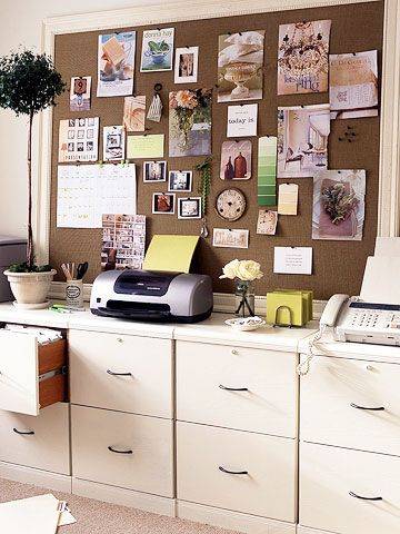 An entire wall dedicated to storage and brainstorming. Buy enough simple veneer cabinets to line your wall; paint them to match your decor for a custom credenza look. To get enough pin-up space, wrap a piece of Homasote board (made of recycled material and often carried at home centers or lumberyards) with burlap. Wait for a framing sale to frame the board, or hang it as is.