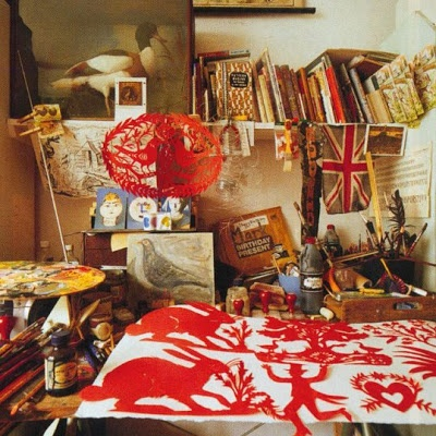 Mark Hearld's flat and studio in York (The World of Interiors, November, 2007).