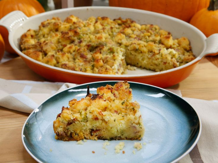 Sunny's Cheesy Bacon Cornbread Dressing recipe from Sunny Anderson via Food Network