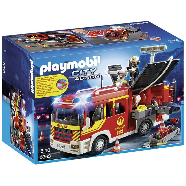 Race to the scene and extinguish the fire with the Fire Engine with Lights and Sound. Toggle the functioning lights and sirens to clear the roads and ensure that the firefighters get to the fire as soon as possible. Set includes one figure, fire truck, traffic cone, fire extinguisher, shovels, gas tank, water hose, and other accessories. Upgrade with the RC module (#4856) to arrive at the scene faster or with the water pump from set #5365 to extinguish the fire in no time.