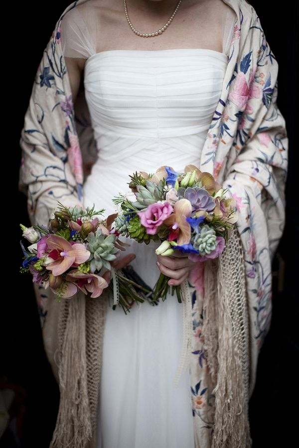 Utterly divine floral shawl and pretty wedding flowers, such an elegant bridal look.