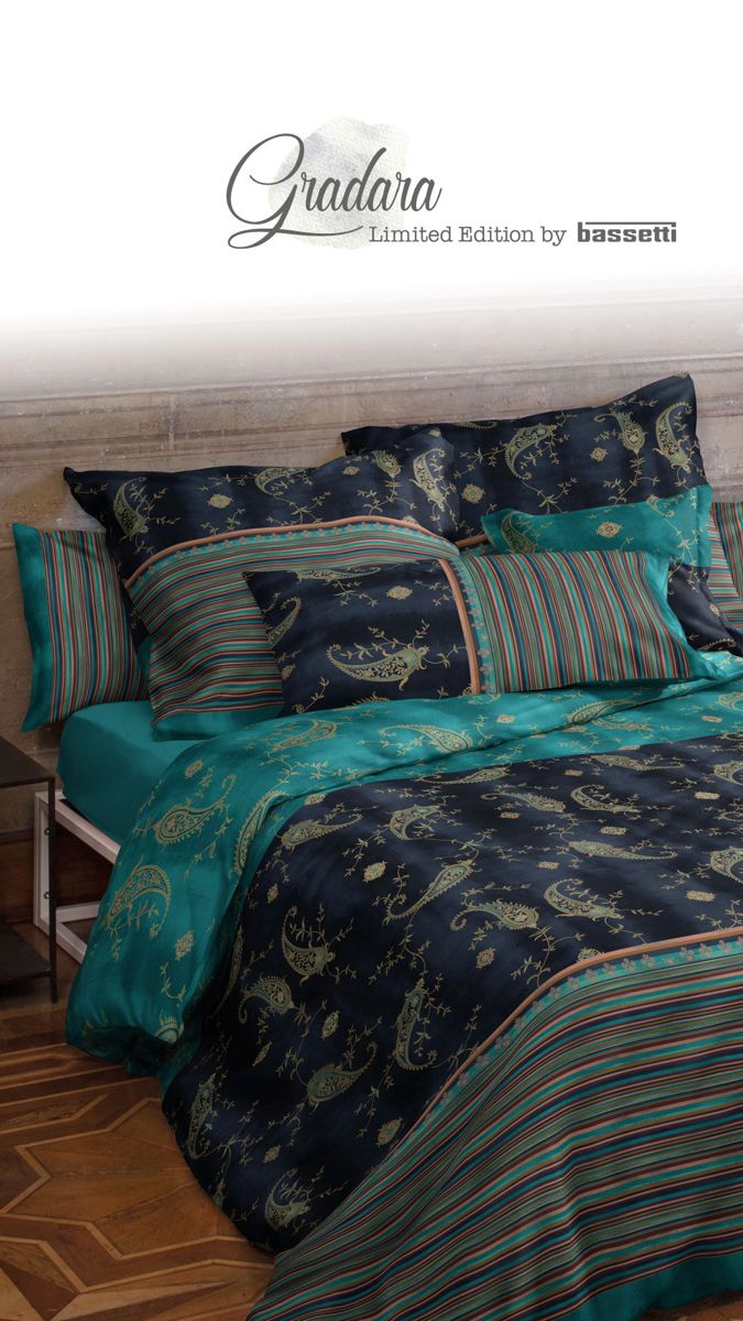 Bedding Bassetti Gradara Blue Bettwäsche Mako Satin Bettwäsche Bett