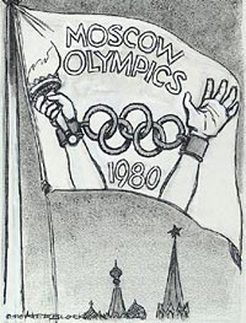 This is a political cartoon of the 1980 Olympic Games. The hands in chains represented a lank of human rights in the USSR.  Political propaganda was highly used during this time, especially the Cold War to gain the support of the nation. The website the picture is from is a blog post I wrote on the 1980 and 1984 Olympic Boycotts.