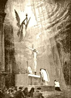 This is what happens EVERY time the Mass is said. LOVE (Christ) comes down for us so that we can regain our strength in Him. The next time you go to Mass, envision this image and pray for the grace to truly believe in the real presence of Christ in the Eucharist.