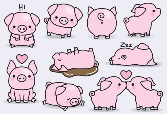 Premium Vector Clipart Kawaii Pigs Cute Pigs Clipart Set High Quality Vectors Instant Download Kawaii Clipart In 2018 Diy Pinterest Kawaii