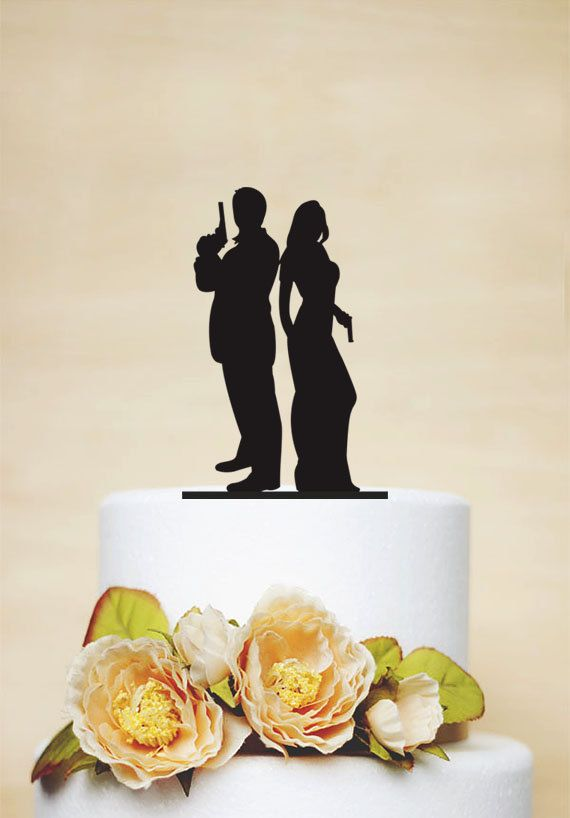 Wedding Cake Topper,Gun wedding, Armed Couple silhouette cake topper,Unique Cake…