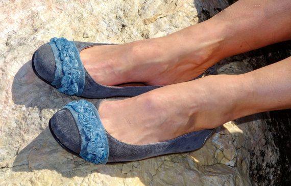 Grigio ballerine di camoscio | Ballerine in pelle fatti a mano | Scarpe di cuoio | Ballerine donna punta tonda con fiore trecce