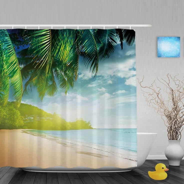 Leisure Time Seaside Scene Shower Cutains Blue Sea Cocotree Bathroom Shower Curtains Polyester Waterproof Fabric With Hooks #Affiliate