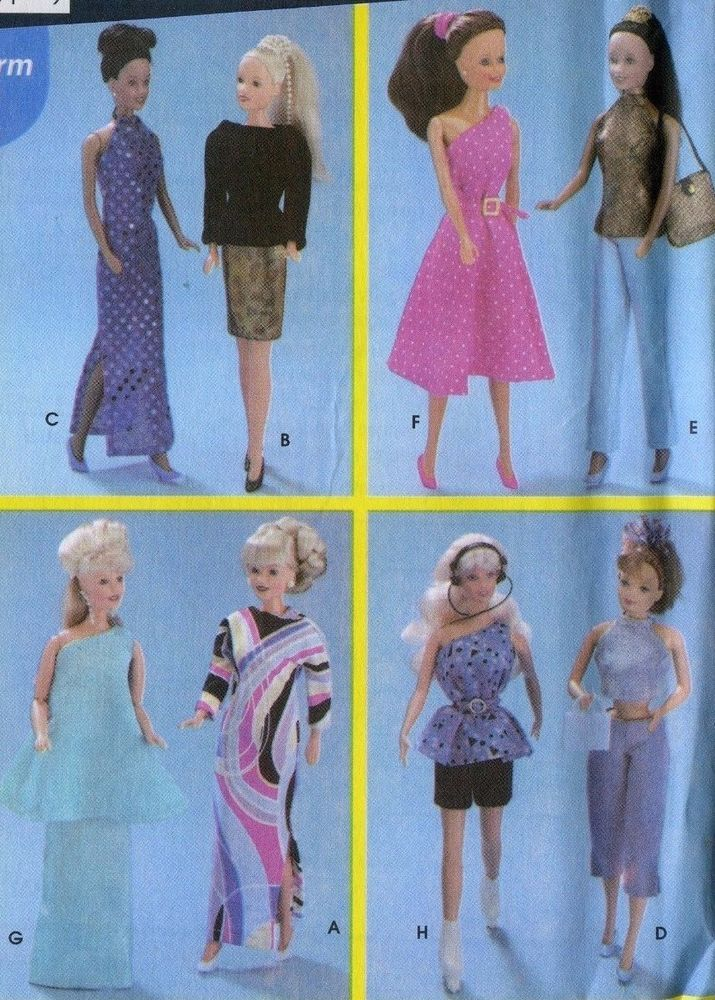 Simplicity Pattern 5257 Fashion Doll 115 In 8 Outfits Sewing For