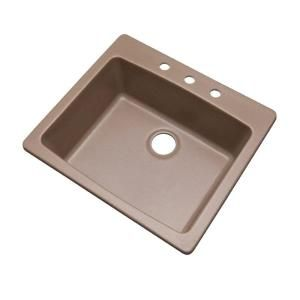 Mont Blanc Northbrook Drop-In Composite Granite 25 in. 3-Hole Single Basin Kitchen Sink in Natural 30304Q at The Home Depot - Mobile