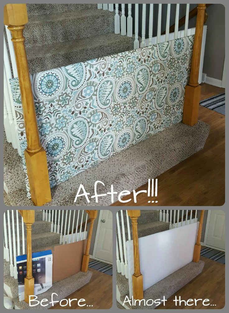 Baby gate DIY... plywood covered with batting and a cute fabric and boom! Done.