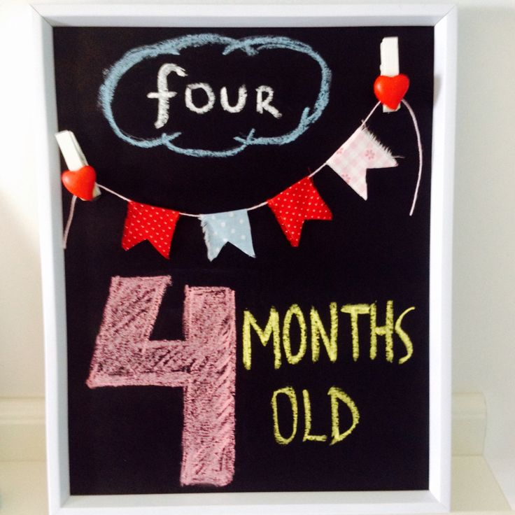 4 months baby sign Monthly baby sign idea 4 months old ...
