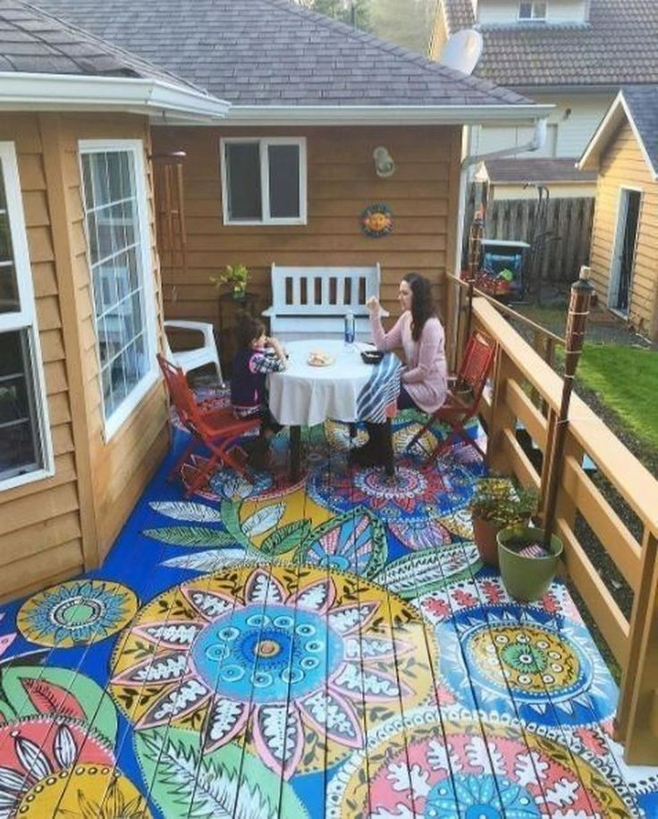40 Stunning Painted Floor Tiles For Patio Decor Ideas in ...