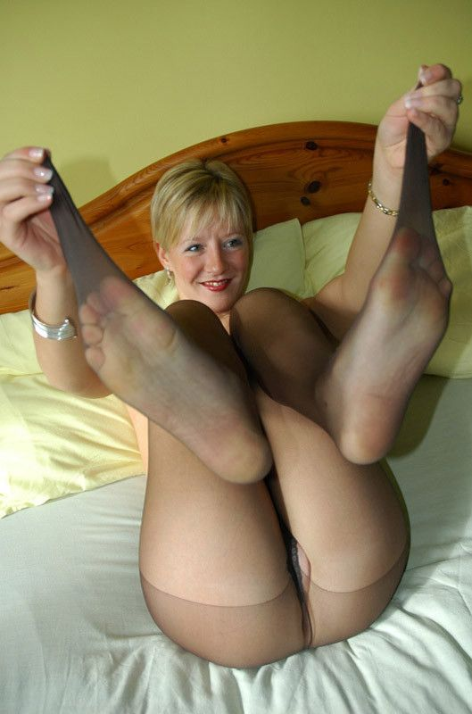 Granny stockings naked real