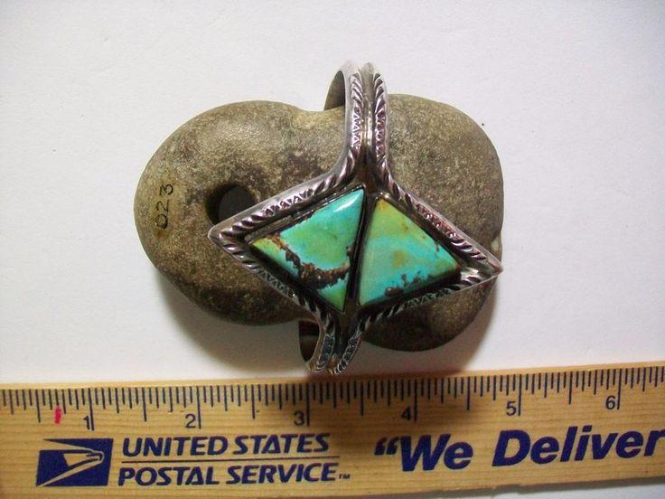 NAVAJO GREEN GEM EXEL Vintage Stamped & Signed Sterling & Turquoise Cuff