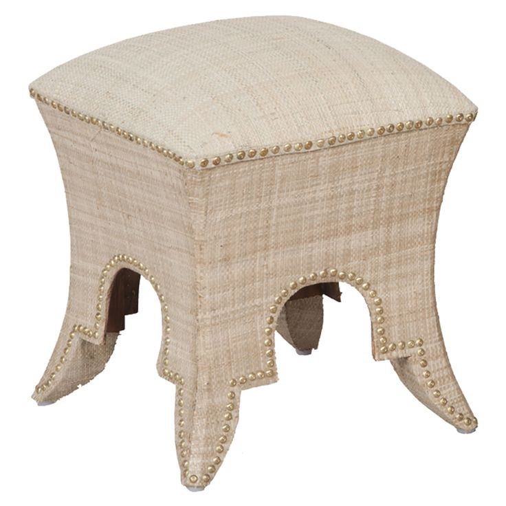Sparkling Mediterranean Curtain With Upholstered Stool