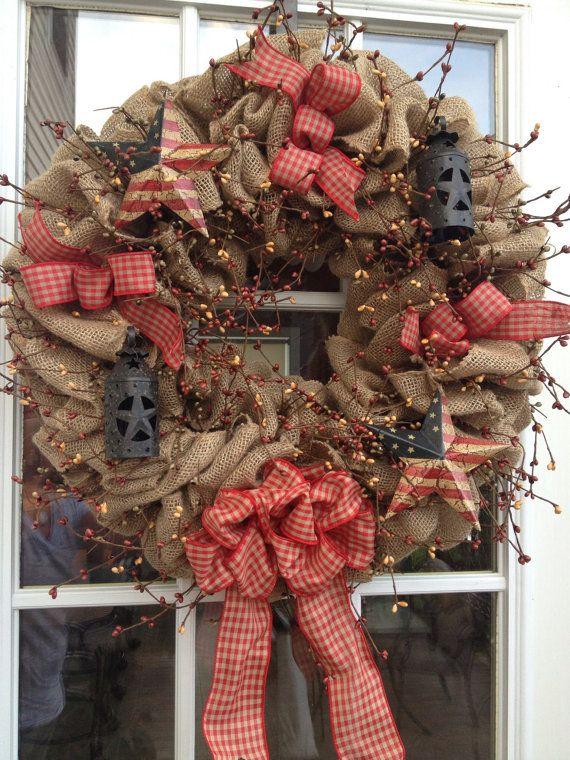 Burlap Wreath ~ Primitive Wreath ~ Americana Wreath ~ The Red Patriot on Etsy, $60.00