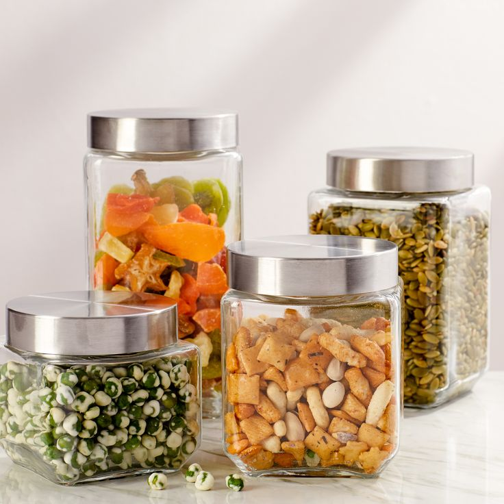 basics 4 piece screw top glass kitchen canister set   kitchen canister sets, glass canisters