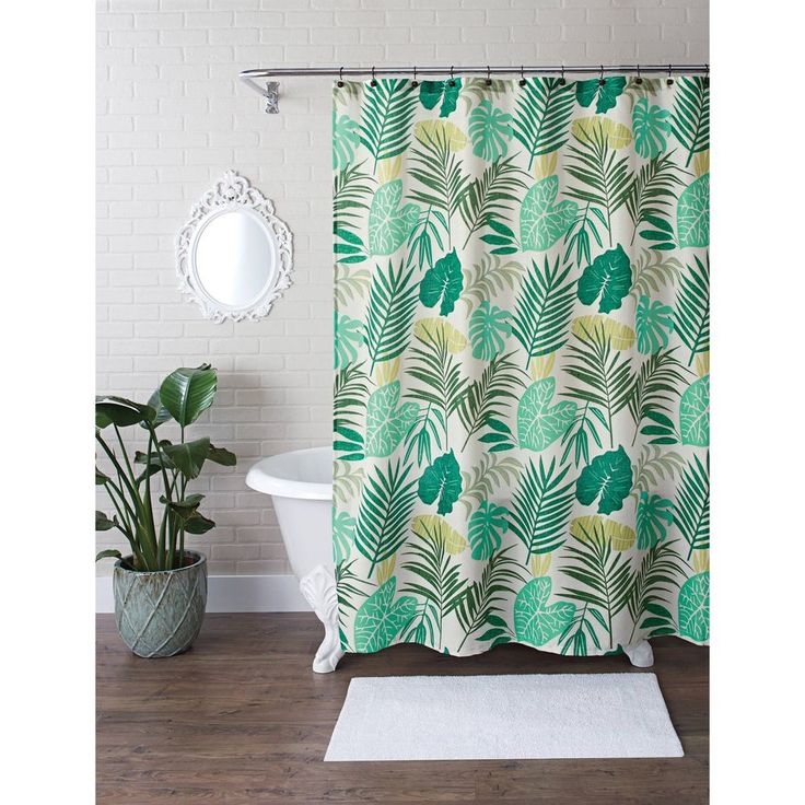 Better Homes And Gardens Green Flower 13 Piece Shower Curtain Set With Hooks