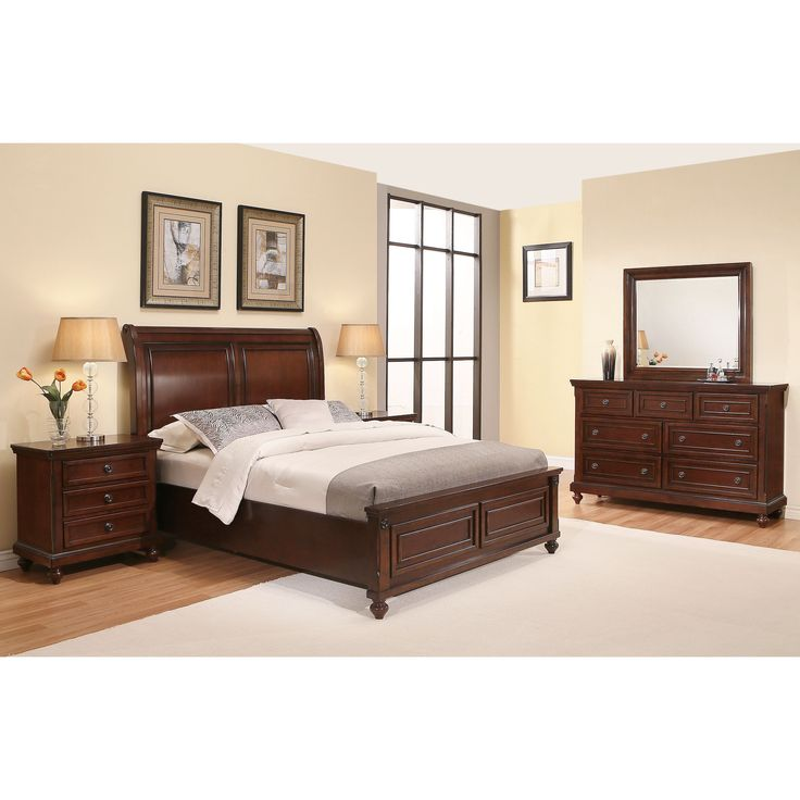 Abbyson Caprice Cherry (Red) Wood Bedroom Set (5 Piece) (King)