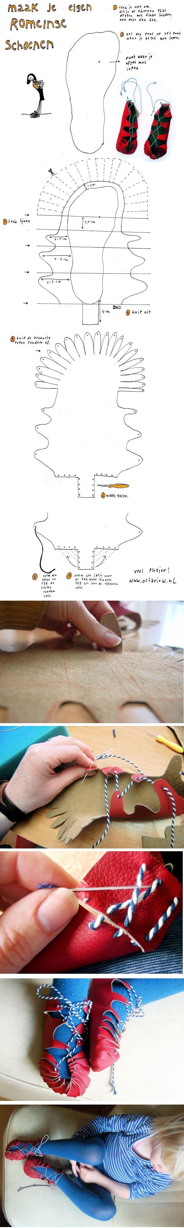 Als muzische activiteit kun je met de derde graad Romeinse sandalen maken. (Make a pair of Roman-style sandals!)