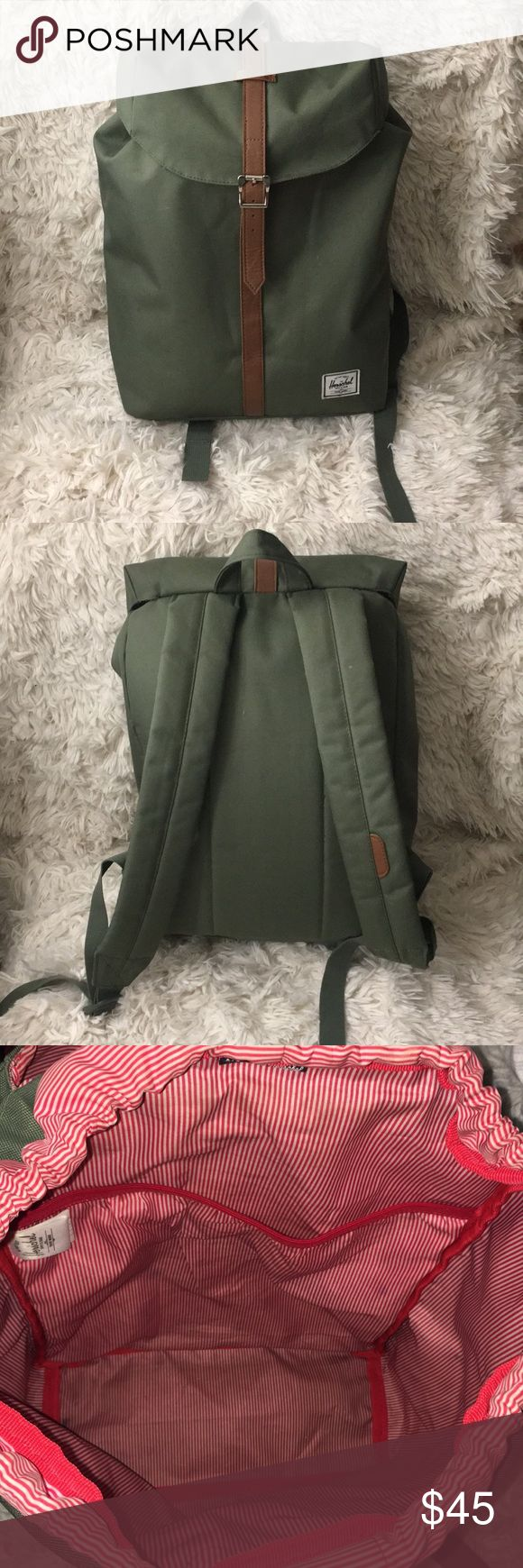 Herschel backpack Olive green post backpack. Dimensions: 13.5 H x 10.75 w Herschel Supply Company Bags Backpacks