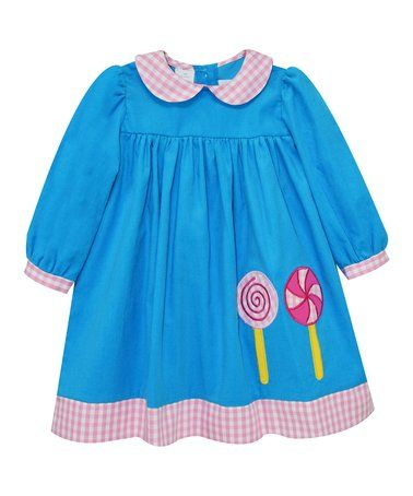 Look at this #zulilyfind! Blue Lollipop Appliqué A-Line Dress - Infant & Toddler #zulilyfinds