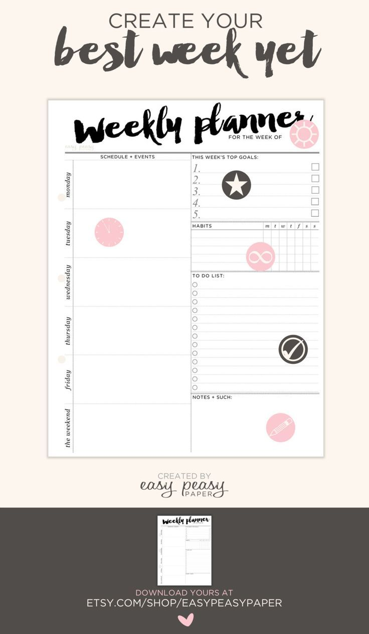 weekly planner printable with times