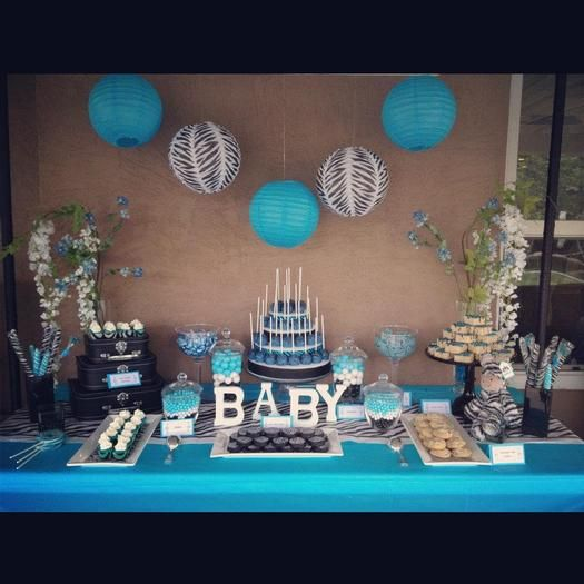 Boy Baby shower. Again, the dessert tables are very in now! It is a lot of work, but definitely makes a statement at any shower.