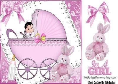 Baby Girl in pink pram on lace with bow & pink bunny 8x8, makes a cute card, also can be seen in baby boy