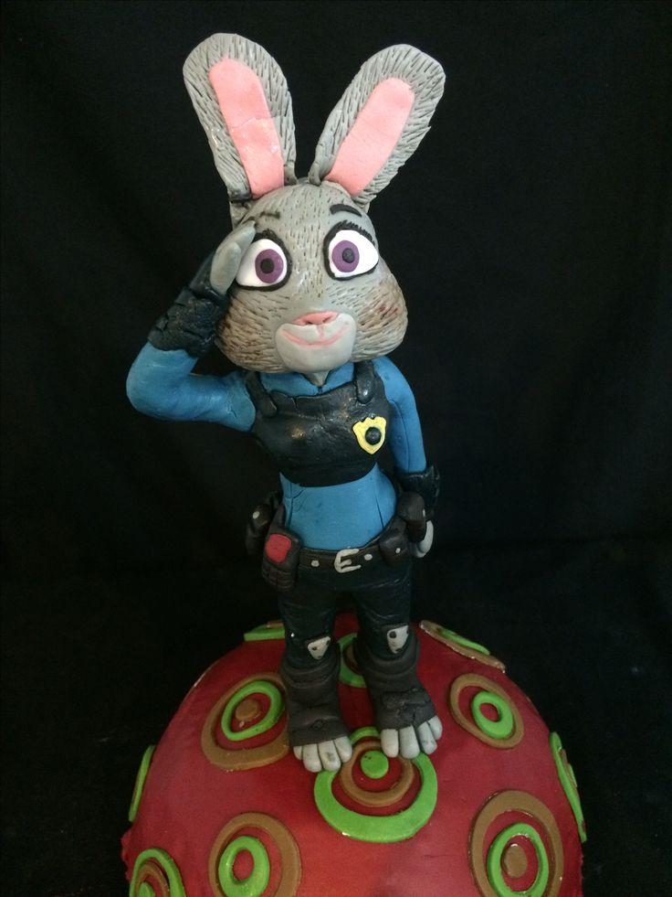 Judy hopps zootopia cake fondant decoration. Cartoon character