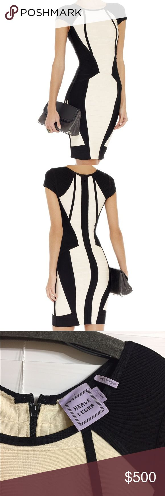 💯% Authentic Herve léger Gorgeous Herve léger two tone bandage dress worn once! As seen on TV! ;) Herve Leger Dresses