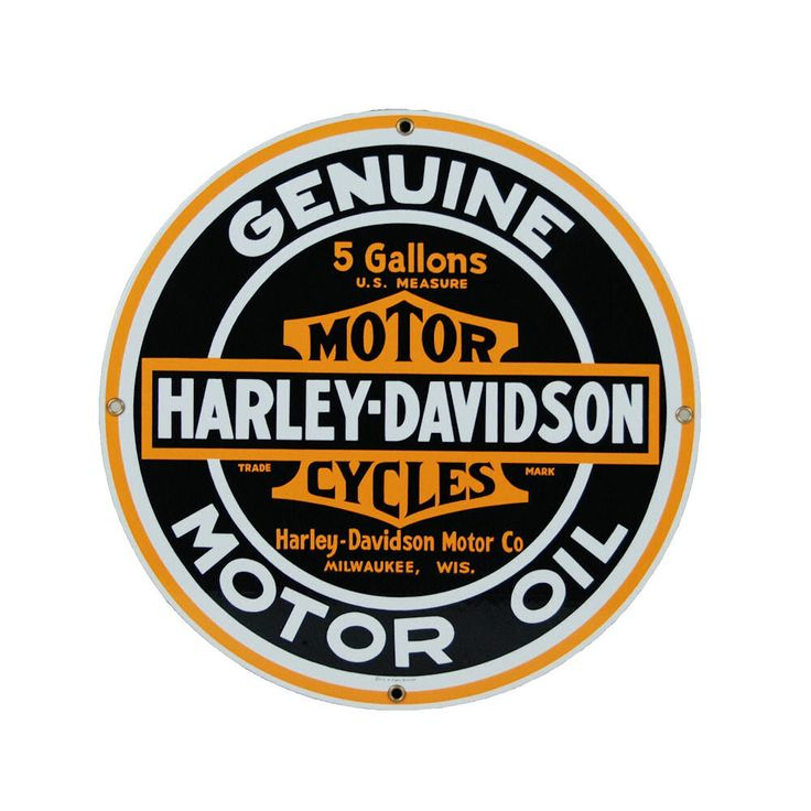 Harley Davidson Motor Oil Sign Round Ande Rooney Signs