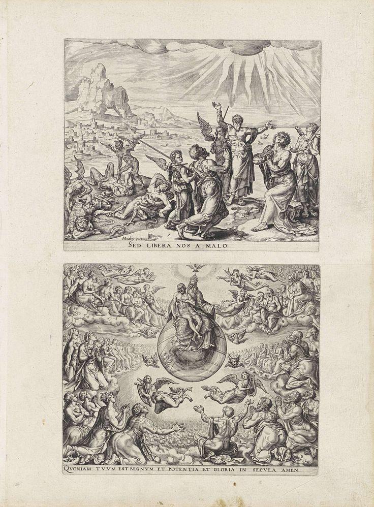 Johannes Wierix | Red ons uit de greep van het kwaad / Aanbidding van de Drieëenheid, Johannes Wierix, Philips Galle, 1569 - 1573 | Blad met twee prenten uit een serie, oorspronkelijk als album gebonden. Boven: Mensen bidden richting de hemel. Ze worden door engelen bevrijdt van het kwaad. Stralen schijnen vanuit de hemel op hen. Het Latijnse onderschrift is een deel uit het gebed het Onze Vader. Onder: De Drieëenheid wordt aanbeden door mensen en engelen. God de Vader zit op een globe met…